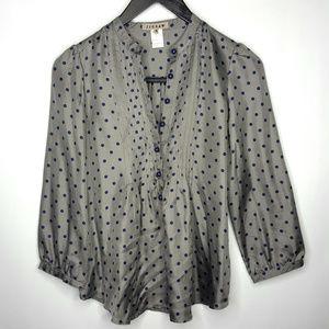 Jigsaw Gray & Purple Polka Dot Silk Blouse Sz 4